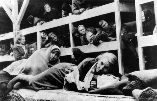 Women in the barracks of Auschwitz. As the war in Europe comes to a close, the horrors of the Holocaust are exposed.  [Ron Cardy/Rex USA, Courtesy Everett Collection]