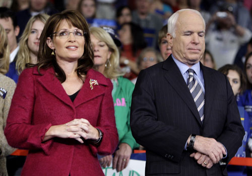 Reports of tension between John McCain and Sarah Palin begin leaking out during the final days leading up to Election Day. Palin's allies claim she has been mismanaged and stifled by the McCain campaign, while the Republican senator's advisers suggest Palin is an arrogant loose cannon.[AP Images]
