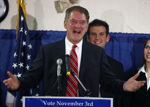 Palin attempts to meddle in the 2009 regional elections and largely comes up empty handed. After getting rebuffed by GOP candidates in New Jersey and Virginia, Palin throws her weight behind ultra-conservative Doug Hoffman in the NY-23 congressional race (forcing the more moderate Dede Scozzafava out of the race). But Democrat Bill Owens (pictured) emerges triumphant on Election Day.[AP Images]