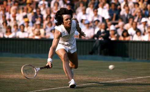 """King was at the top of women's tennis for nearly two decades. She won her first Wimbledon singles title in 1966, piled up dozens of singles and doubles titles before retiring in 1984 and was ranked number one in the world for five years. She founded the Women's Tennis Association, the Women's Sports Foundation and WomenSports magazine. She championed Title IX legislation, which equalized opportunities for women on and off the playing field. In 1972 she signed a controversial statement, published in Ms., that she had had an abortion, putting her on the front lines of the battle for reproductive rights. In 1972 she became the first woman to be named Sports Illustrated """"Sportsperson of the Year."""" In 1981 she was the first major female professional athlete to come out as a lesbian. She has consistently spoken out for women and their right to earn comparable money in tennis and other sports.  Further Reading: Pressure Is a Privilege: Lessons I've Learned from Life and the Battle of the Sexes by Billie Jean King. A Necessary Spectacle: Billie Jean King, Bobby Riggs, and the Tennis Match That Leveled the Game by Selena Roberts.  Credit: Michael Cole/Courtesy of HBO"""