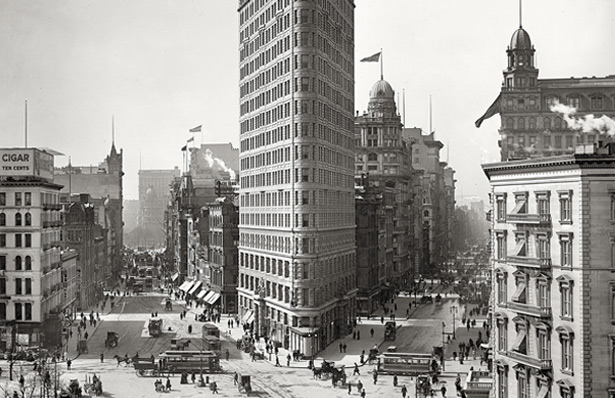The Flatiron Building in 1903, at the end of the last Gilded Age