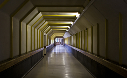 A long hallway leading to the women's clinic, where abortions are provided, at t