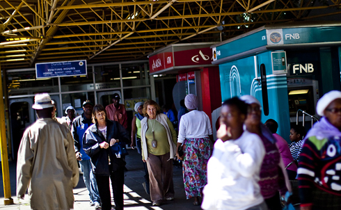 Patients stream out of and into Johannesburg Academic Hospital, one of the busie
