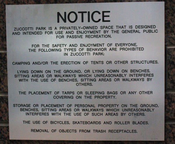 Rules posted at Zuccotti Park