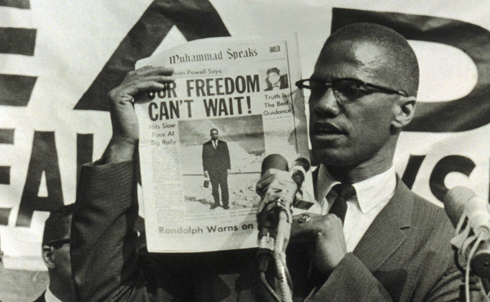 """A onetime street hustler involved in drugs, prostitution and gambling, Malcolm Little converted to Islam while in prison and, upon his release, became a leading minister of the Nation of Islam, a forceful advocate for black pride and a harsh critic of white racism. In 1964, disillusioned by Nation of Islam leader Elijah Muhammad's behavior, Malcolm X left the organization. That year, he traveled to Mecca and, in his words, met """"all races, all colors, blue-eyed blondes to black-skinned Africans in true brotherhood!"""" His views continued to evolve. He spoke against white racism, the capitalist system and imperialism.In 2010,The Nationnamed Malcolm X one of itstop 50 most influential progressivesof the twentieth century.  Credit: Everett Collection"""