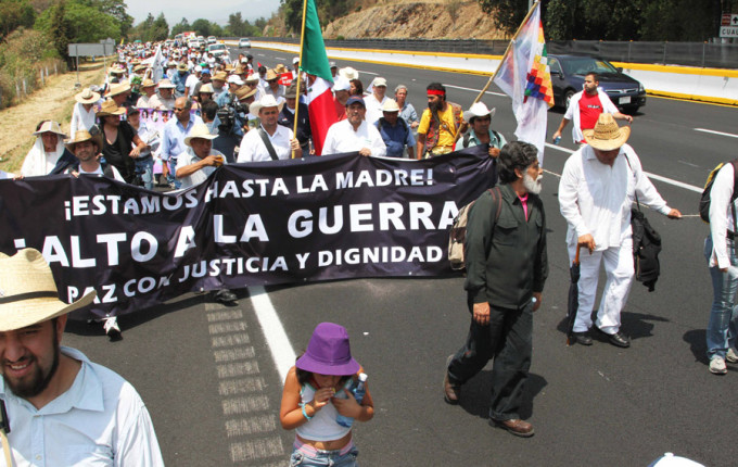 Marchers heading out of Cuernavaca, Morelos, on March 5