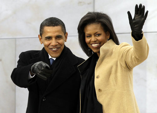 "Barack and Michelle Obama arrive at ""We Are One: Opening Inaugural Celebration at the Lincoln Memorial"" Sunday, Jan. 18. (AP Photo/Alex Brandon) Read more about the Lincoln Memorial celebration here."