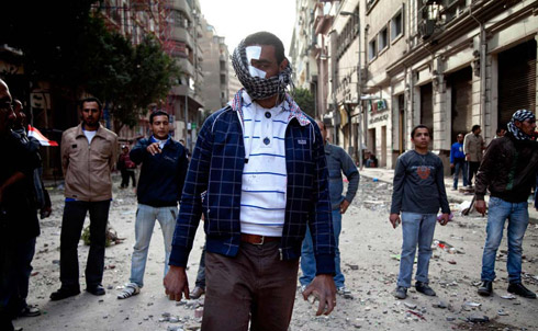 Wounded Protestor in Cairo