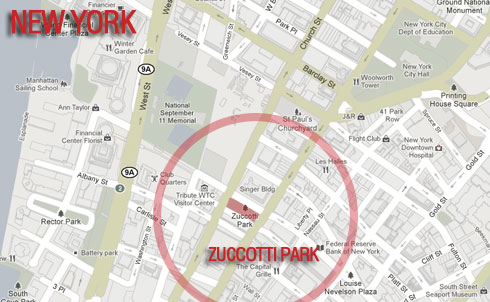Location: Zuccotti Park  Occupied since: September 17  Map courtesy of Google Maps