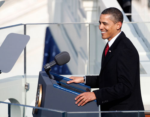 Obama gazes at a crowd estimated at more than 1 million before delivering his inaugural speech. For more on Obama's inauguration speech go here. (Reuters Photos)