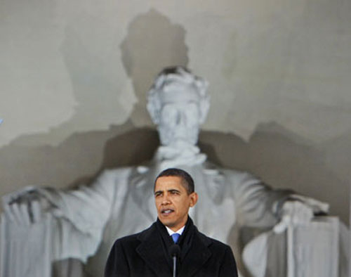 President-elect Barack Obama speaks at the Lincoln Memorial during an inaugural concert in Washington on January 18. (AP Photo/Charles Dharapak)