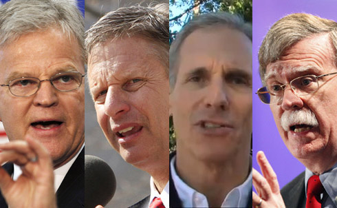 """Former Louisiana Governor Buddy Roemer has an exploratory committee, former New Mexico Governor Gary Johnson is officially seeking the GOP nomination and Fred Karger has started his long-shot race as the first openly-gay presidential candidate from either major political party. Even the US's former representative at the UN, John Bolton, is considering a run, though Politico reports that he has so far done """"next-to-nothing to build a national political infrastructure.""""  Credit: Roemer, AP Images; Johnson, AP Images, Karger, Fredkarger.com; Bolton, AP Images"""