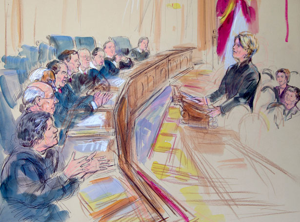 Artist rendering of oral arguments over DOMA at the Supreme Court