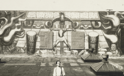 """When the Mexican communist muralist David Alfaro Siqueiros came to Los Angeles in 1932, he was commissioned to produce a work for a large wall in the Olvera Street district. But his pointed mural, featuring """"a Mexican peasant crucified under an American eagle,"""" didn't sit right with local elites and was """"whitewashed within a year—allegedly by order of the downtown Anglo business community.""""  Credit: © 2011 Artists Rights Society (ARS), New York / Sociedad Mexicana de Autores de las Artes Plásticas"""
