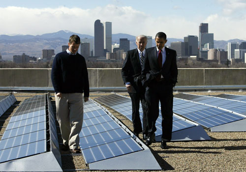 Developing alternative sources of energy is a keystone of the the new administration's economic stimulus plan. Here President Obama and Vice President Joe Biden view a solar panel array on the roof of the Denver Museum of Nature and Science. Solar installations such as this one represent a unique opportunity to right the environmental wrongs of the Bush years. (AP Images)