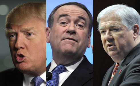 Then there's the rest of the pack. Donald Trump's conspiracy theory-heavy campaign came to an end this week, just as NBC rolled out its fall lineup. Arkansas's Mike Huckabee also bowed out this week, and Mississippi's Haley Barbour has been out since last month.  Credit: AP Images
