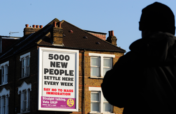 Anti-immigrant campaign poster of the UK Independence Party