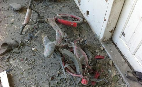 A bike damaged by shelling