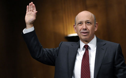 "It hurts even more when the people earning these kinds of figures are the same ones who helped create the economic crisis. Bloomberg News predicts Goldman Sachs CEO Lloyd Blankfein is on track to receive a $24.3 million bonus in stock in January, based on share prices—even though, as Nation contributor Robert Scheer puts it, ""Goldman Sachs stands accused of selling dubious derivatives that concealed enormous government debt,"" and sent the global economy into a tailspin.   Credit: AP Images"