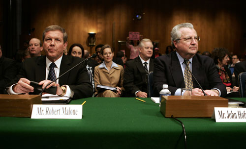 Johann Hari's controversial article in the March 4, 2010 issue of The Nation exposed that big-name national and international conservation groups such as the Sierra Club and Conservation International are accepting money from companies with long histories of egregious environmental abuse--companies like Shell and BP--whose presidents are seen here at a Senate committee in 2008.