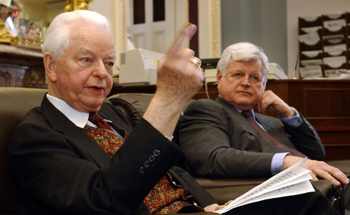 """Byrd was one of the earliest and toughest critics on the US's decision to invade Iraq, even among Democrats, who were largely complacent or supportive of the use of military force following the attacks of September 11. He had supported the Vietnamese mission of Presidents Johnson and Nixon and, like many senators who made the same mistake, he had come to recognize the importance of asserting a congressional check and balance on presidential warmaking. """"Thanks to Byrd's fierce denunciations of an unnecessary resolution to promote an unnecessary war,"""" John Nichols wrote in October of 2002, """"Members of Congress who side with the administration will not be able to plead ignorance to the charge that they abandoned their Constitutionally-mandated responsibilities in order to position themselves for the fall election.""""  Credit:APImages"""