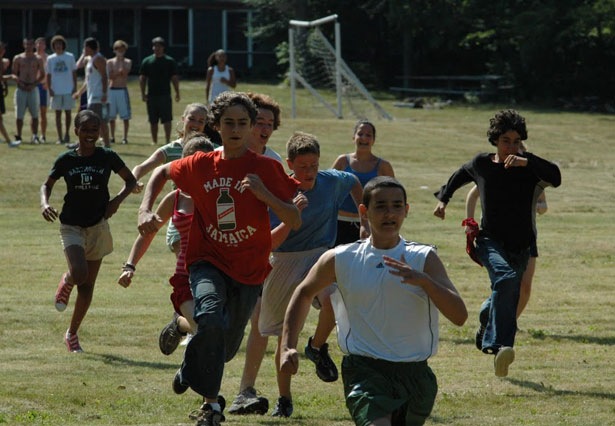 Campers race during Camp Kinderland's World Peace Olympics
