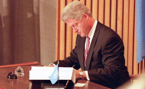 """In December of 1997, the Clinton Administration made a quiet but important change to America's doctrine on nuclear arms strategy, marking the first revision since the thick of Cold War tension in 1981. Instead of charting a course toward eventual nuclear abolition, however, the White House simply removed """"from presidential guidance all previous references to being able to wage a nuclear war successfully or to prevail in a nuclear war.""""  Alarmed by Clinton's failure to depart from Reagan-era nuclear thinking, The Nation's Jonathan Schell issued a strong call for the abolition of nuclear arms. """"Now that the war is over, can't we stand down the arms that were built to fight the war?"""" Schell asked. """"Can't we and they together not dismantle the system of nuclear terror under which we have all been living? Can't we, at long last, abolish nuclear weapons?""""  Credit:APImages"""