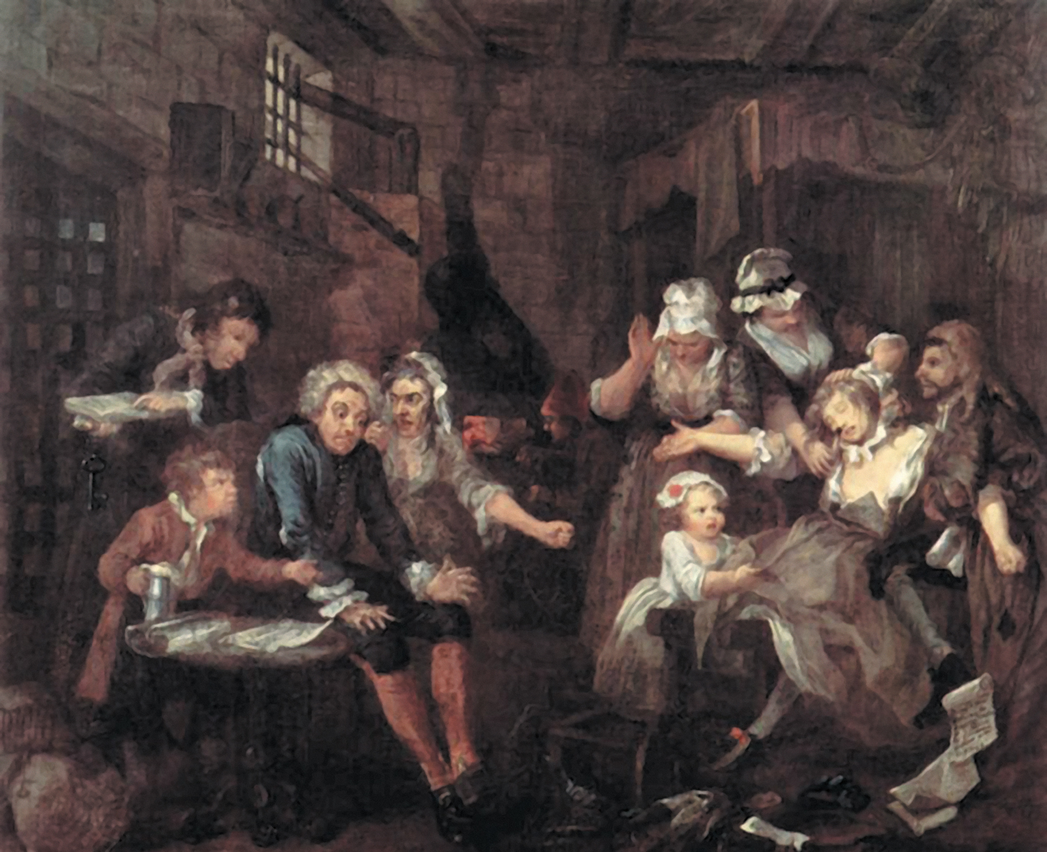 """""""The-Prison""""-from-A-Rake's-Progress-1733-by-William-Hogarth"""