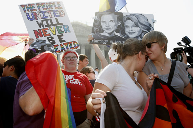 LGBT people celebrate Supreme Court ruling on DOMA