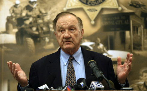 "While Loughner's political statements, Nichols argues, came in the context of broader rants—and a personal history—that clearly suggested he was unstable, Pima County Sheriff Clarence Dupnik observed that ""when you look at unbalanced people, how they respond to the vitriol that comes out of certain people's mouths about tearing down the government, the anger, the hatred, the bigotry that goes on in this country is getting to be outrageous. And, unfortunately, Arizona I believe has become sort of the capital. We have become the Mecca for prejudice and bigotry.""