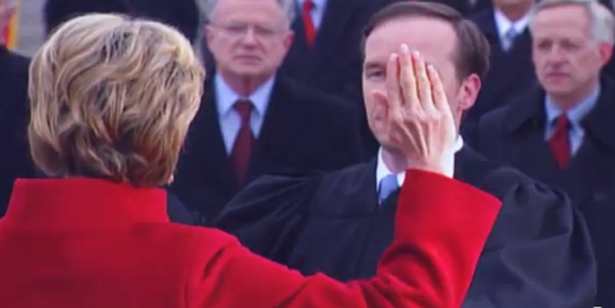 Woman president being sworn in