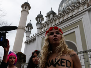 Braved protests nude donald protester femen