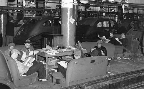 Workers occupying a General Motors plant in Flint, Michigan