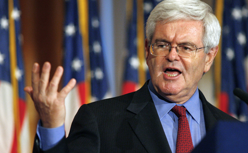 """Newt Gingrich's immigration reform plan involves setting up citizen review boards to decide whether undocumented immigrants can receive residency, deporting up to nine million immigrants and outsourcing a guest worker program to """"American Express, Visa or MasterCard so that you know that fraud is very unlikely."""" Right. But the fact that he supports some kind of leniency on long-term US residents sets him apart from Romney and Santorum.  """"I am not for amnesty for anyone. I am not for a path to citizenship for anybody who got here illegally… But I am for a path to legality for those people whose ties are so deeply into America that it would truly be tragic to try and rip their family apart.""""  Credit: Reuters Pictures"""