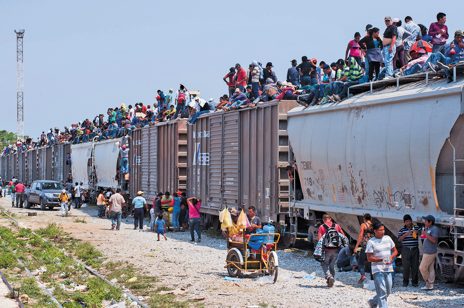 """At-the-railhead-of-the-freight-train-known-as-""""the-Beast""""-in-Chiapas-Mexico"""