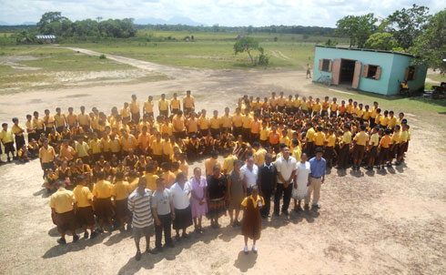 "Students of Bina Hill institute and the Annai Secondary School in rural Guyana joined hands to urge global leaders to protect Guyana's remaining rainforest. The Institute's Bertie Xavier wrote that ""the Indigenous people of Guyana and more so the youth of today is in full support of this event and hope that we can make a huge impact in the fight against climate change.""