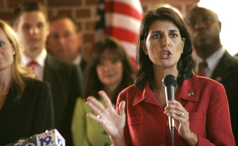 "On November 2, Tea Party-backed Nikki Haley defeated Democrat Vincent Sheehan to become South Carolina's first woman and first Indian-American governor. As one of Sarah Palin's ""Mama Grizzlies,"" Haley branded herself as a fiscally conservative, pro-business, anti-""Obamacare"" candidate, and successfully deflected allegations of marital infidelity during her campaign.