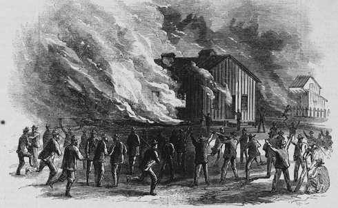"""In the years after the Civil War, as the South braced for the withdrawal of Union soldiers, the protection of former slaves fell to often-hostile local police officers. Riots erupted in Memphis in 1866 following a clash between a group of black soldiers and white police officers, with police and civilians storming black neighborhoods to rob, rape and kill. The chaos lasted three days.  """"There will prevail in the South for a long time to come a good deal of envy, hatred, and malice towards the colored population,"""" Nation co-founder E.L. Godkin wrote in his article in the aftermath of the Memphis riots, foreshadowing the difficult road ahead for African Americans. In the riots, Godkin says, """"the officers of the law…took a leading part in it, and we now have very little doubt that, were any similar outburst of popular prejudice to take place tomorrow in any other town in the South, the local police, if they interfered at all, would interfere in the same way.""""  Credit: Harper's Weekly / Library of Congress"""