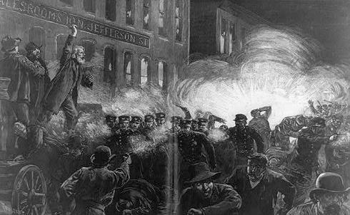 1886 engraving of the Haymarket affair