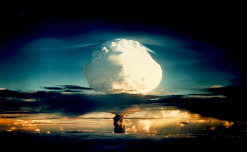 """After the detonation of nuclear bombs at the end of World War II, the world moved deeper into the atomic age and the nuclear standoff between the superpowers. An even more apocalyptic bomb was created, the H-bomb, in which US military planners invested their most fervent hopes in the theory of deterrence. The problem with this mindset, as The Nation's editors wrote in 1952, is that """"Fear of the destructiveness of modern war can only be a temporary deterrent….since fear rules out security.""""  Credit: National Nuclear Security Administration / Nevada Site Office"""