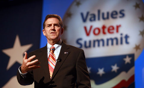 "South Carolina Senator Jim DeMint continues to push for banning gay people and unmarried mothers from working as teachers, after he infamously promoted the same ideas in his 2004 campaign. In his speech at the Greater Freedom Rally on October 1, DeMint defended his right to promote his Christian beliefs, implying that allowing gay people and unmarried mothers to teach would be disrespectful to Christian citizens: South Carolinians, DeMint says, ""don't want government purging their rights and their freedom to religion."" As Talking Points Memo points out, DeMint did not specify whether sexually active unmarried male teachers should also be removed from classrooms. DeMint is favored to defeat Democratic candidate Alvin Greene in November.   