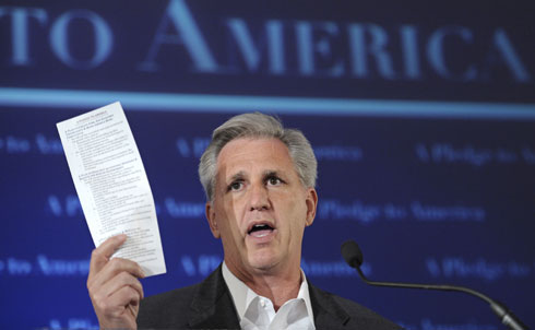 """Incoming GOP House whip Kevin McCarthy's greatest contribution to Republican rhetoric as of late is his role as key author of the dubious Pledge to America. As John Nichols points out in his appearance on Grit TV, the dramatic cuts to the federal budget that the Pledge to America calls for can only come from one place: Social Security.  As The Nation's Sasha Abramsky writes in the latest issue of the magazine, """"McCarthy in many ways typifies the new House GOP"""" even though he has """"lived and breathed politics for decades."""" Abramsky points out that McCarthy's strong fundraising abilities and youthful energy helped endear him to the """"deeply conservative cadre of state legislators.""""  As House whip, however, McCarthy will have his job cut out for him. Abramsky predicts that McCarthy will not want to alienate voters and put the GOP majority at risk in 2012 by hewing too far to the right, and will thus have the task of reining in his party's more extreme elements. """"He might well succeed; he's clearly talented,"""" says Abramsky, """"but there's at least a chance it will end up proving a bridge too far.""""  Credit: APImages"""