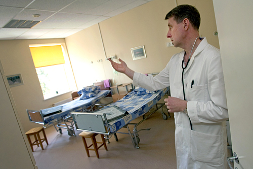 The cuts are affecting all areas, including healthcare. In March, the Ministry of Health shut down thirteen hospitals, including Adazi Hospital and Clinic, thirty minutes outside of Riga. Peteris Pultraks, head of Adazi Hospital, is concerned about the severe impact closings will have on rural areas, especially the impoverished south, where roads are unpaved and buses run only twice a week.