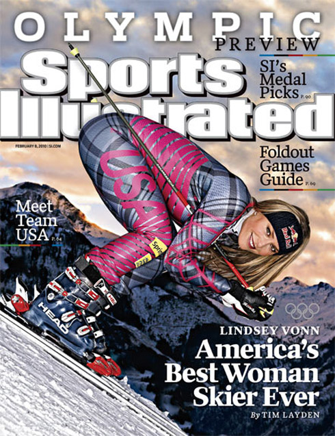 """The """"sexy babe"""" mode, which represents a """"hot"""" female athlete, falls just short of soft pornography.  Lindsey Vonn, Olympic skier"""