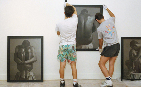 """In the late 1980s, a right reinvigorated by years of Reaganite social-economic policies reanimated the culture wars by taking aim at artists. One of their first targets was photographer Robert Mapplethorpe, whose stately studio compositions, which Nation critic Arthur Danto called """"high-style, high-glamour"""" still lifes, featured nudes and depictions of BDSM feats.  In 1989, conservatives forced the Corcoran Gallery of Art in Washington, DC to cancel an exhibit of Mapplethorpe's photographs, and the next year the director of the Contemporary Arts Center of Cincinnati faced obscenity charges for hosting the exhibit. The exhibit went forward nevertheless, attracting the highest attendance in the Center's history, and the right turned to other targets.  Credit: AP Images"""