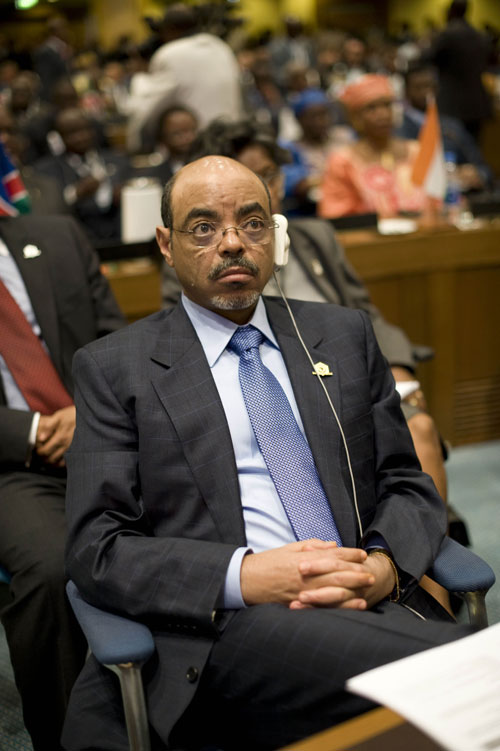"When Nation correspondent Naomi Klein visited Copenhagen for the Climate Change Summit, she found contradictions in the Ethiopian prime minister's stance on global warming. Three months earlier, Meles Zenawi, pictured here, warned he would walk out on negotiations that are a ""rape of [his] continent."" But in Copenhagen, he repositioned, revealing a plan accepting increasing temperatures in Africa. As Klein writes, developing countries do not realize their loss, and economist Nicholas Stern equates the exchange to ""beads and blankets for Manhattan."" Luckily, Archbishop Desmond Tutu was hesitant to settle on a deal for Africa right then, which, Klein writes in ""The Courage to Say No,"" is the most we can hope for."