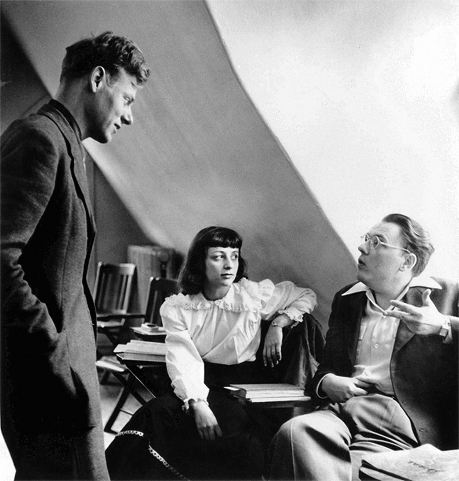 Paul-de-Man-left-Renée-Weiss-and-Ted-Weiss-1949-at-Bard-College