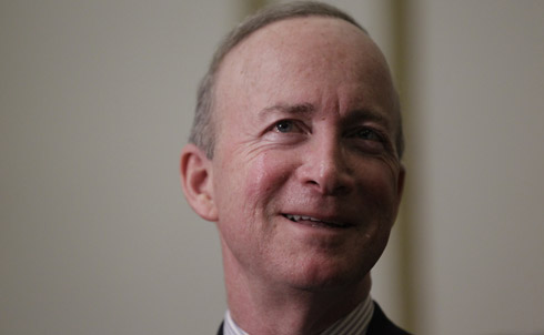 """Indiana Governor Mitch Daniels was a major contender for the party's nomination, so when he announced on Sunday, May 22 that he would not be running in 2012, he threw the door wide open for other late-coming candidates.  """"Our morbidly obese federal government needs not just behavior modification but bariatric surgery."""" February, 2011  Credit: AP Images"""