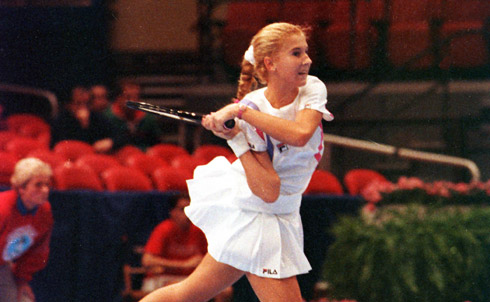 Like a lot of tennis players, she had a tendency to grunt while making her shots, and this prompted outrage that I think would never have occurred if she'd been a man. Opponents would lodge complaints, and Seles would be apologetic, but that was the way she played, and she beat everyone. She was just amazing. Looking back, I'm certain that the collective resentment of her—which I confess I felt in moments, mingled with my excitement about her strength—was an expression of our cultural discomfort with a kind of overt female aggression that seems to revel in itself.