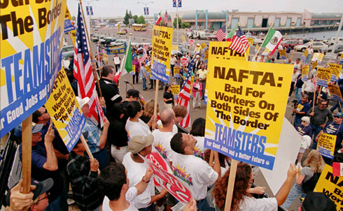Workers protest against NAFTA in San Diego